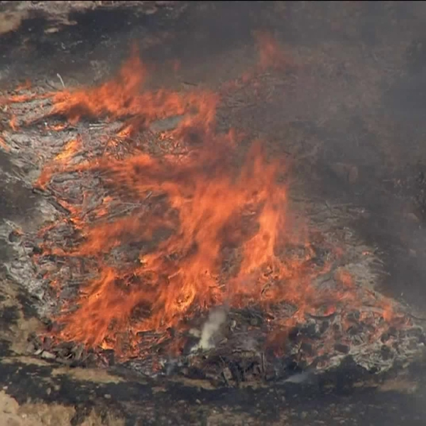 A brush fire erupted on a hot afternoon in Pomona on July 23, 2018. (Credit: KTLA)