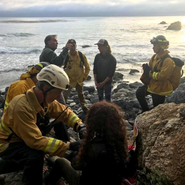 Angela Hernandez receives medical care after being found at the bottom of a cliff in Big Sur on July 13, 2018. (Credit: Monterey County Sheriff's Office)