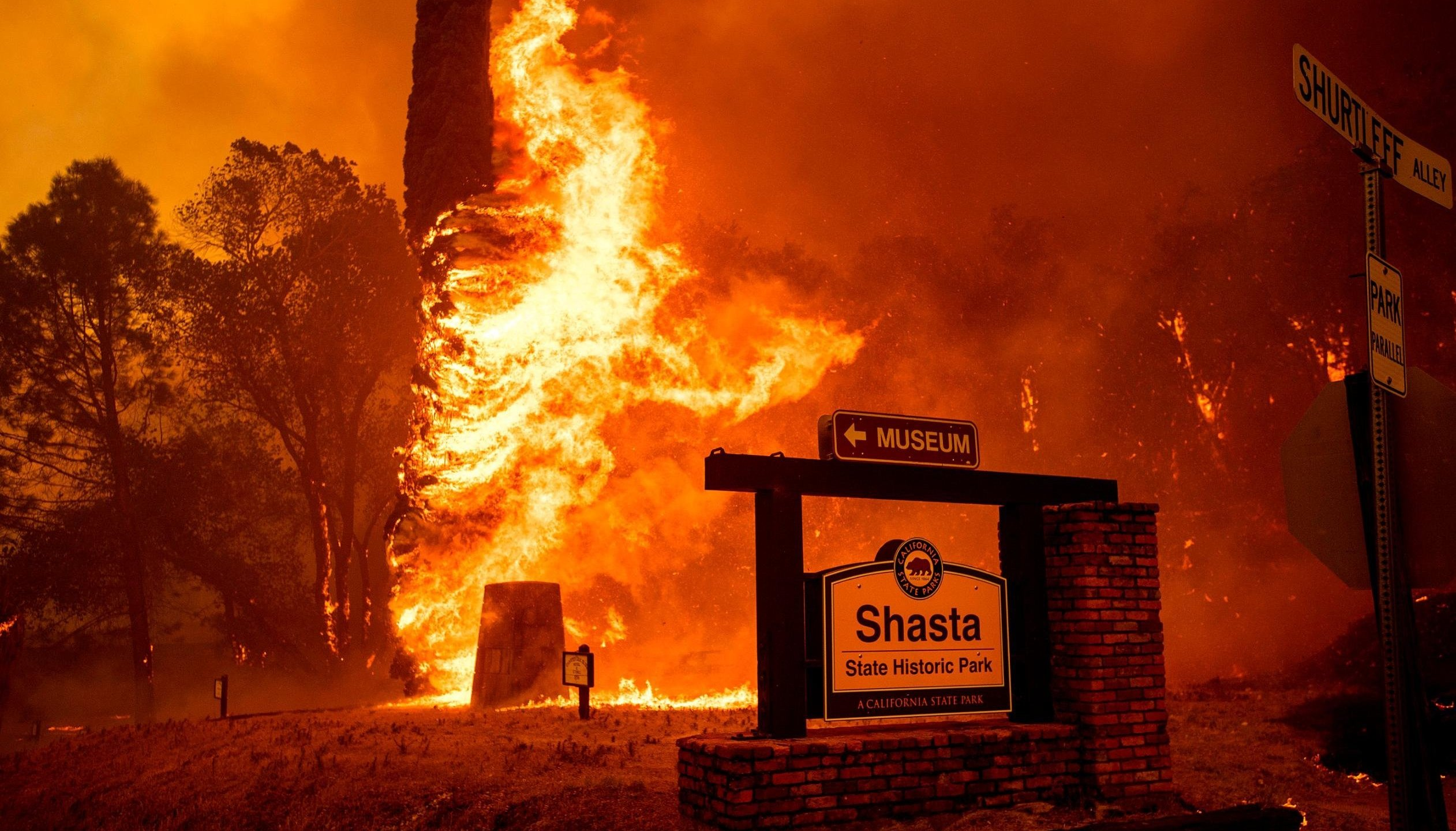 The Carr Fire tears through Shasta on July 26, 2018. (Credit: Noah Berger / AP)