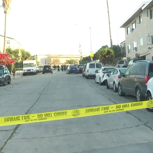 Crime scene tape is seen at the site of a fatal shooting in Westlake on July 5, 2018. (Credit: KTLA)