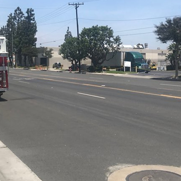 A chemical spill has resulted in the closure of the north and south lanes of North Glassell Street between Meats and Grove Avenue in Orange on July 16, 2018. (Credit: Orange Police Department Twitter account)