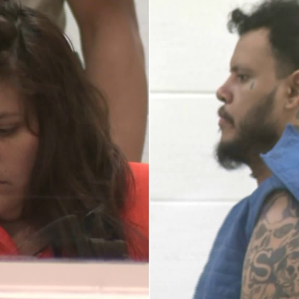 Heather Maxine Barron, left, and Kareem Ernesto Leiva, right, are seen in an Antelope Valley courtroom on July 2, 2018. (Credit: KTLA)
