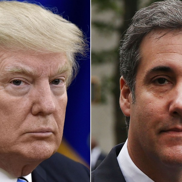 Donald Trump, right, looks on during a meeting in the White House on June 30, 2017. Michael Cohen, right, arrives at the U.S. District Court Souther District of New York on May 30, 2018. (Credit: Olivier Douliery - Pool/Spencer Platt/Getty Images)