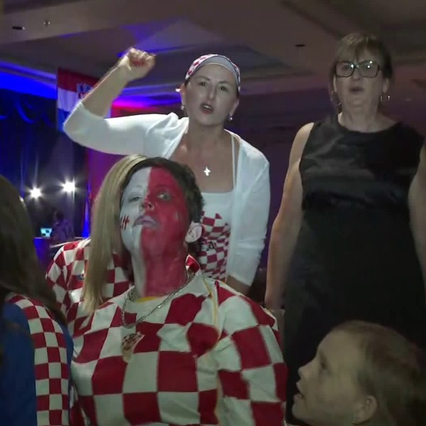 Croatia fans in Los Angeles cheer on their team prior to the World Cup matchup against Denmark on July 1, 2018. (Credit: KTLA)