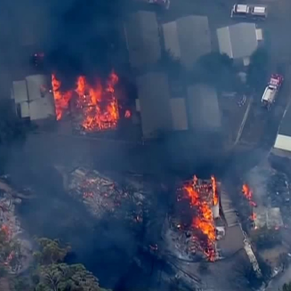A raging brush fire destroyed numerous homes in the Alpine area on July 6, 2018. (Credit: KSWB)
