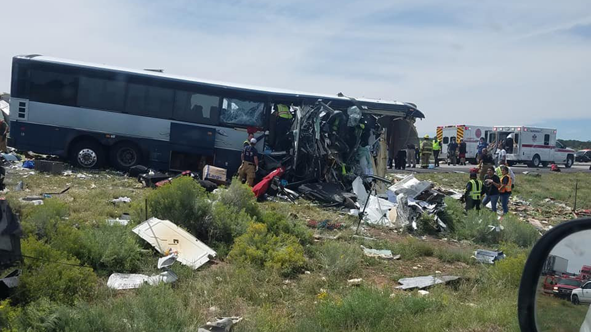A Greyhound bus was involved in a crash in northwestern New Mexico on Thursday. (Credit: Chris Jones/Facebook via CNN Wire)