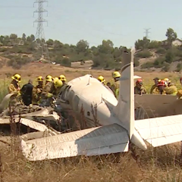 The scene of a deadly plane crash in Sylmar on August 12, 2018, is seen here. (Credit: RMGNews)