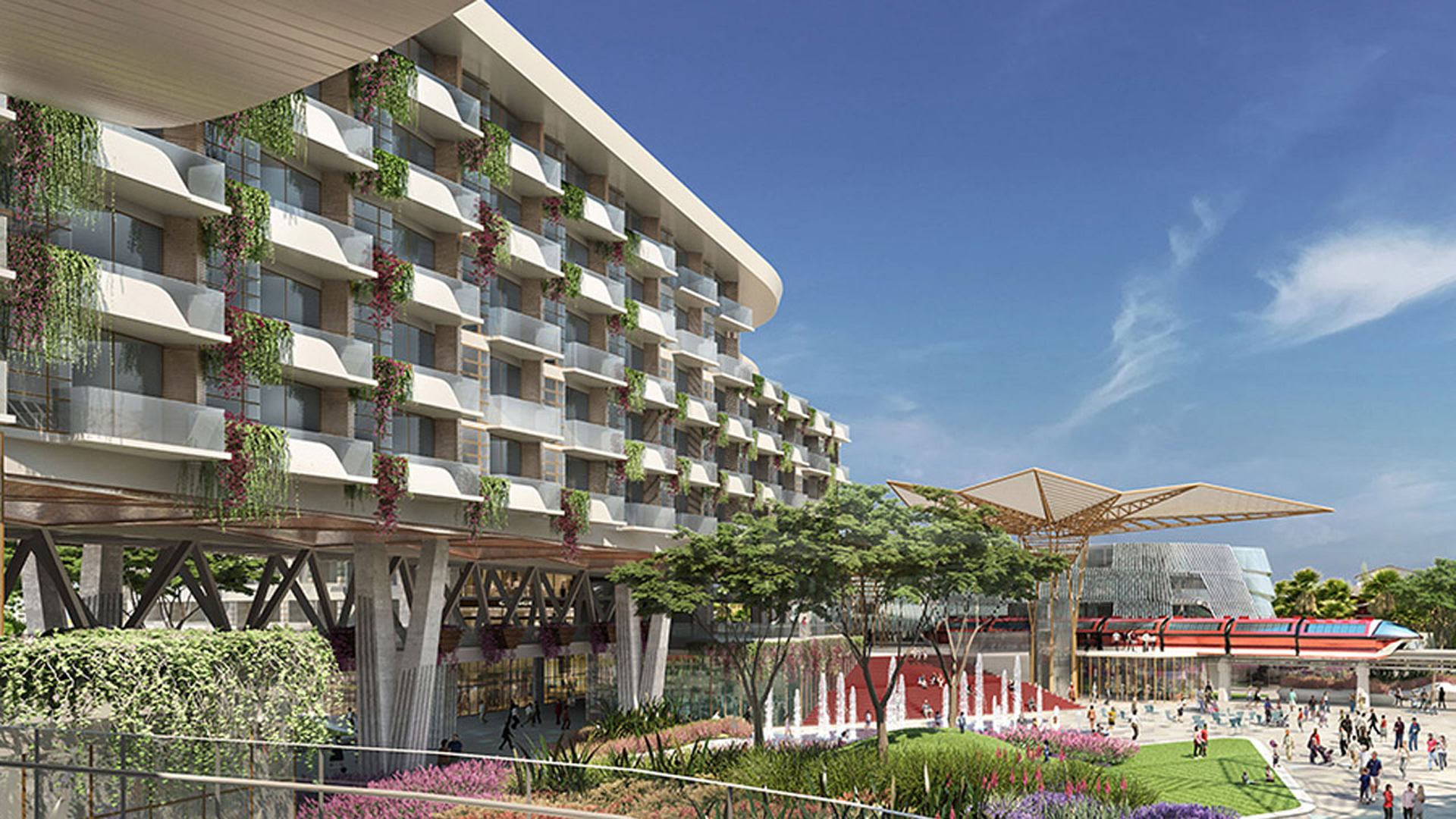 The new hotel was set to open at the west end of the Downtown Disney District in 2021. (Credit: Disneyland Resort)