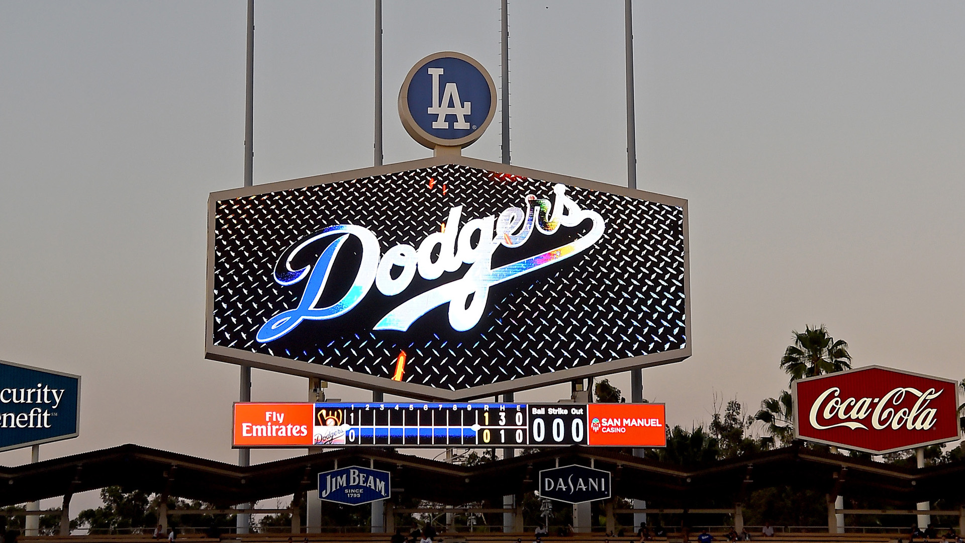 A stadium power outage caused a delay of game in the third inning between the Los Angeles Dodgers and the Milwaukee Brewers at Dodger Stadium on July 30, 2018. (Jayne Kamin-Oncea/Getty Images)