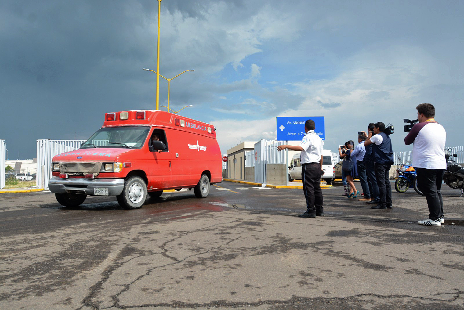 An ambulance is seen at the airport of Durango, in northern Mexico, after a plane crashed during take off on July 31, 2018. (Credit: LULU MURILLO/AFP/Getty Images)