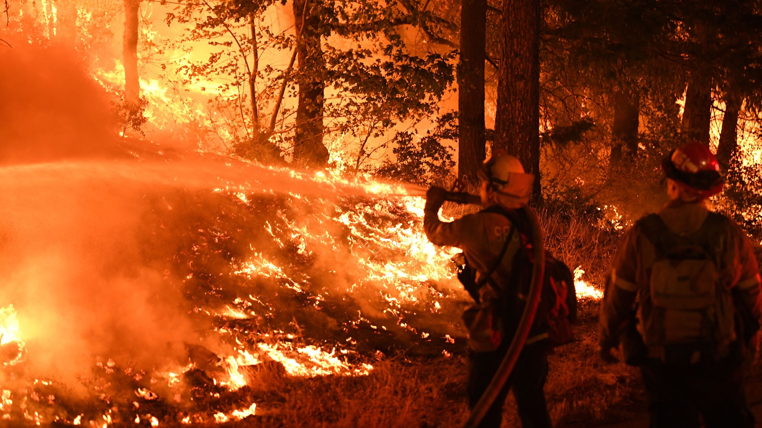 A firefighter tries to control a back burn as the Carr fire continues to spread towards the towns of Douglas City and Lewiston near Redding, California on July 31, 2018. (Credit: Mark Ralston/AFP/Getty Images)