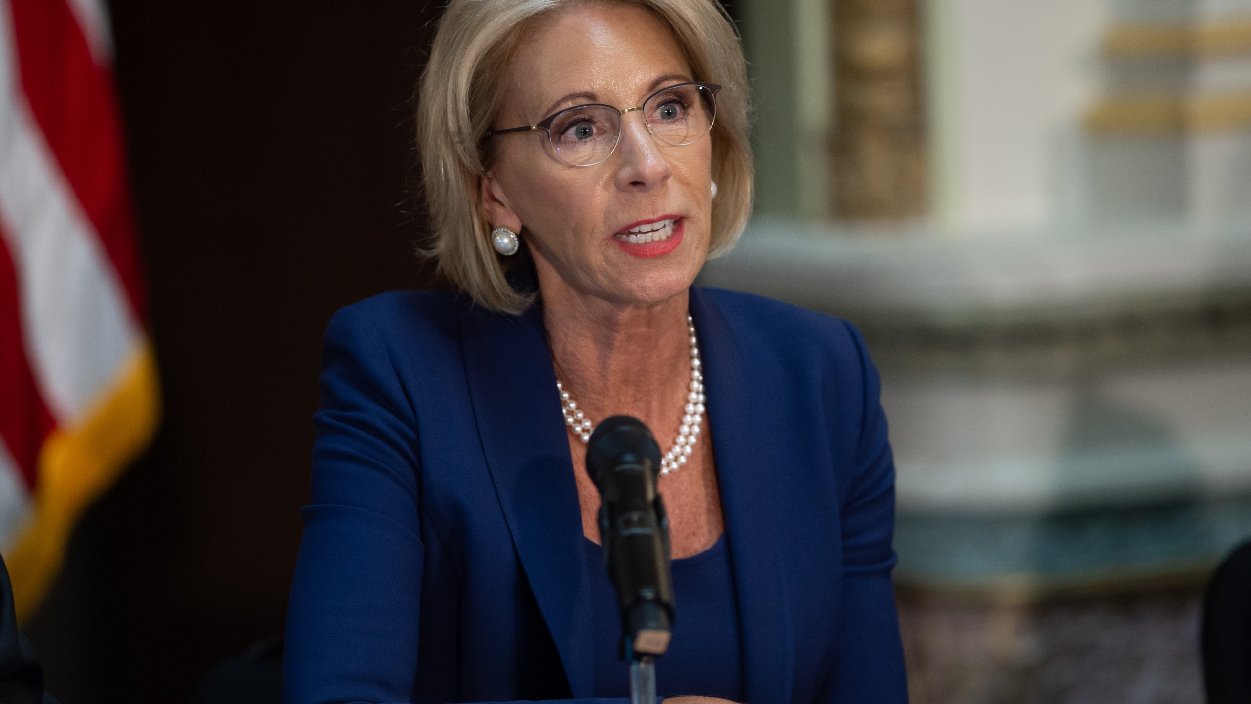 US Secretary of Education Betsy DeVos speaks during the fifth meeting of the Federal Commission on School Safety on August 16, 2018. (Credit: SAUL LOEB/AFP/Getty Images)