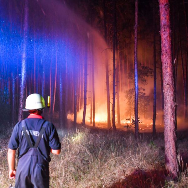Firefighters work to put out a blaze in Klausdorf, northeastern Germany on Aug. 24, 2018. (Credit: Patrick Pleul/AFP/Getty Images)
