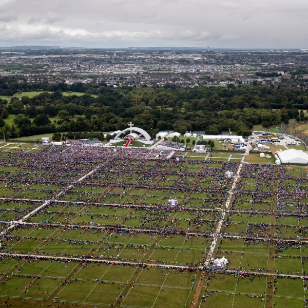 An aerial view of the crowd at Phoenix Park as Pope Francis attends the closing Mass at the World Meeting of Families, as part of his visit to Ireland, on August 26, 2018 in Dublin, Ireland. (Credit: Liam McBurney-Pool/Getty Images)