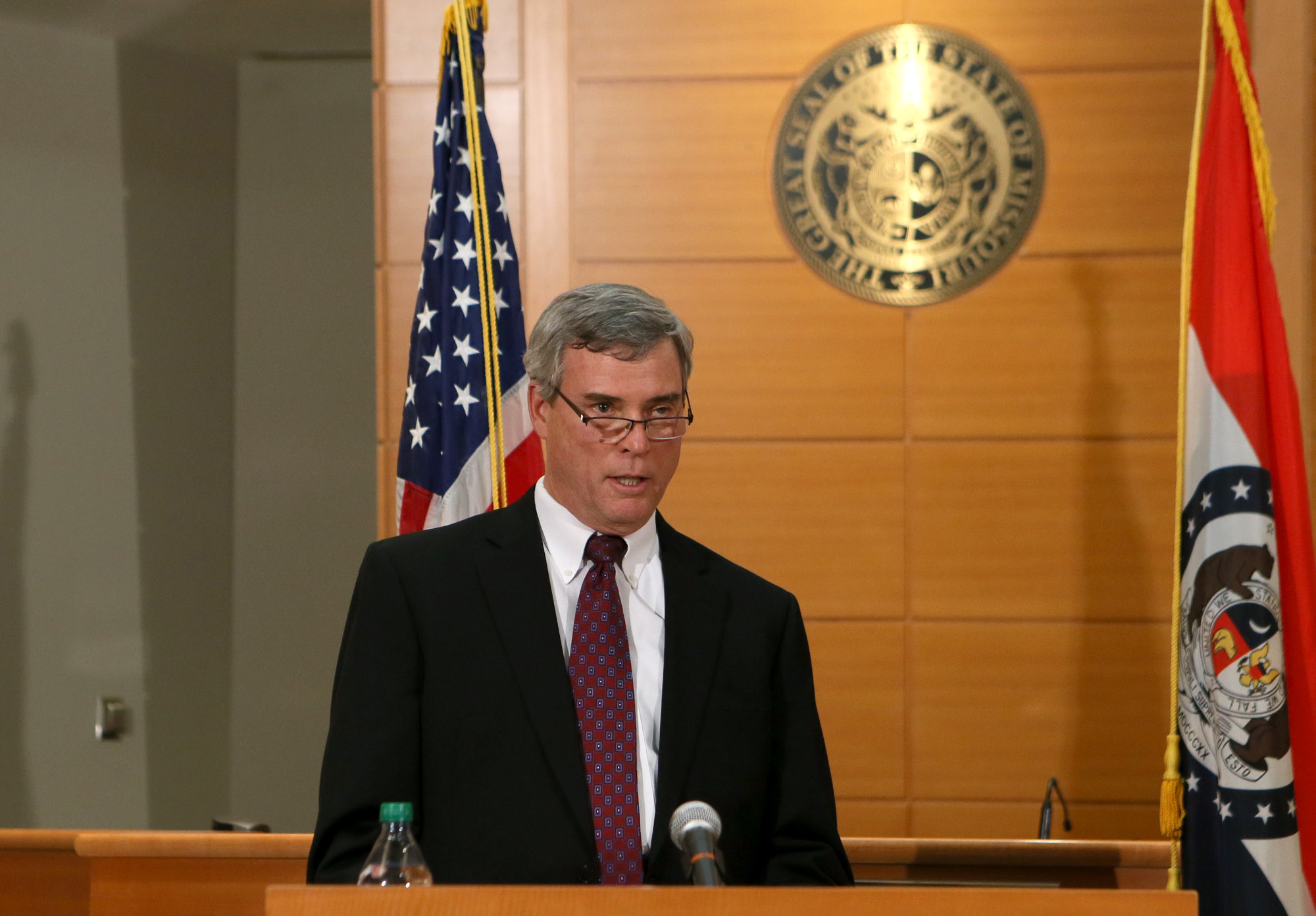 St. Louis County Prosecutor Robert McCulloch announces the grand jury's decision not to indict Ferguson police officer Darren Wilson in the shooting death of Michael Brown on Nov. 24, 2014, at the Buzz Westfall Justice Center in Clayton, Missouri. (Credit: Cristina Fletes-Boutte-Pool/Getty Images)
