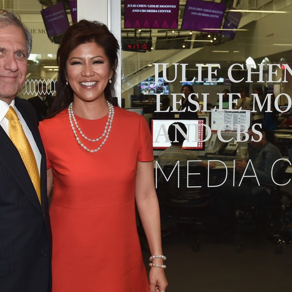 CBS CEO Leslie Moonves and TV host Julie Chen attend the naming of the Julie Chen/Leslie Moonves and CBS Media Center at The Wallis Annenberg Hall at the University of Southern California on Feb. 25, 2015. (Credit: Alberto E. Rodriguez/Getty Images)