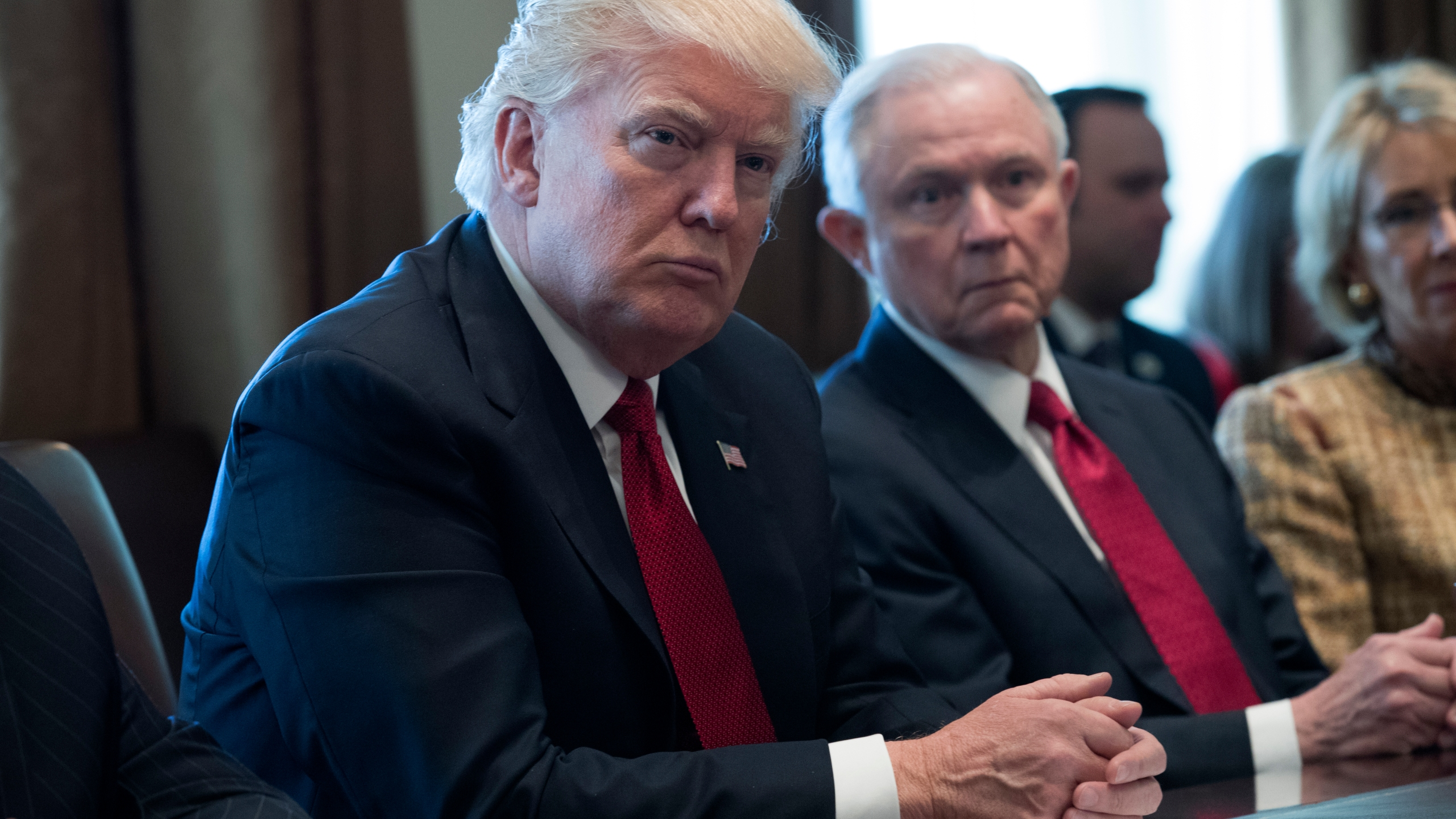 Donald Trump and Jeff Sessions attend a panel discussion at the White House on March 29, 2017 in Washington, D.C. (Credit: Shawn Thew-Pool/Getty Images)