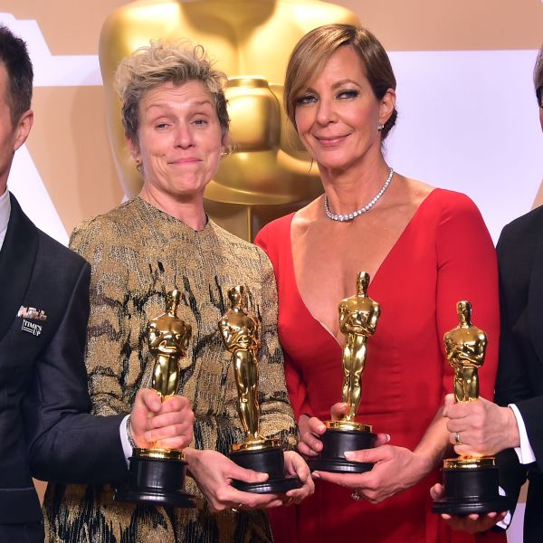 Actors Sam Rockwell, Frances McDormand, Allison Janney, and Gary Oldman, pose in the press room with their Oscars for best supporting actor, best actress, best supporting actress, and best actor, during the 90th Annual Academy Awards on March 4, 2018, in Hollywood. (Credit: FREDERIC J. BROWN/AFP/Getty Images)