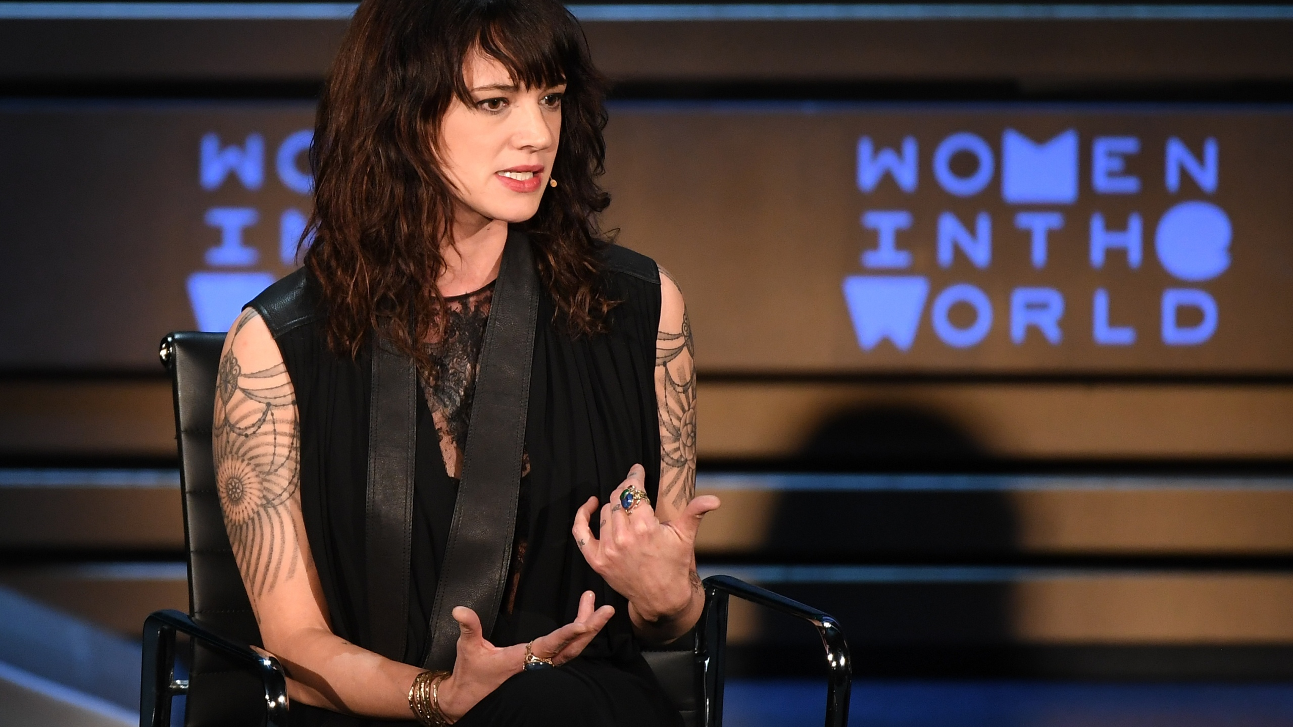 Actor/director Asia Argento speaks onstage at the 2018 Women In The World Summit at Lincoln Center on April 12, 2018, in New York City. (Credit: ANGELA WEISS/AFP/Getty Images)