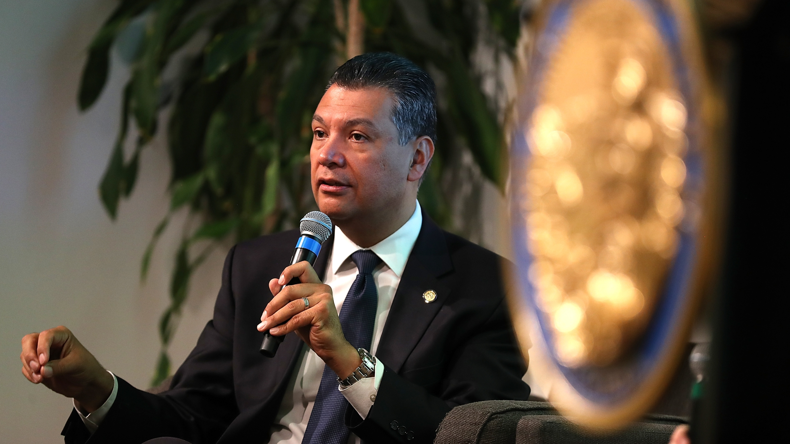 California Secretary of State Alex Padilla speaks during a news conference at Uber headquarters in San Francisco on May 24, 2018. (Credit: Justin Sullivan / Getty Images)