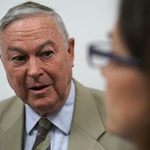 Rep. Dana Rohrabacher speaks to members of the media as he leaves a Republican conference meeting on Capitol Hill on June 7, 2018. (Credit: Alex Wong / Getty Images)