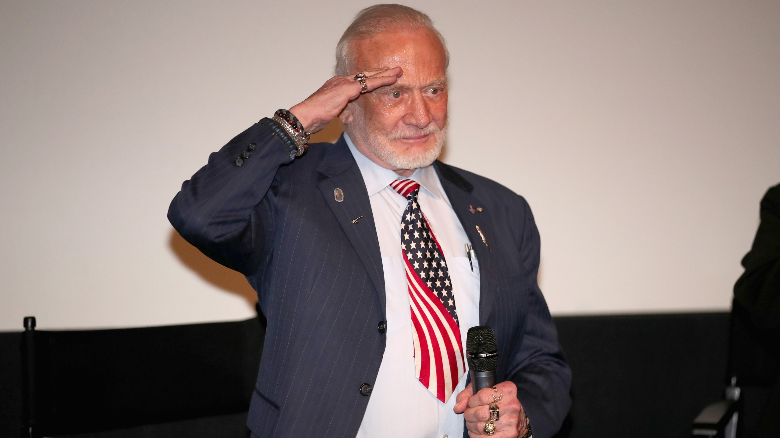 Astronaut Buzz Aldrin at the premiere of The Man Who Unlocked The Universe on June 21, 2018 in West Hollywood, California. (Credit: Christopher Polk/Getty Images)