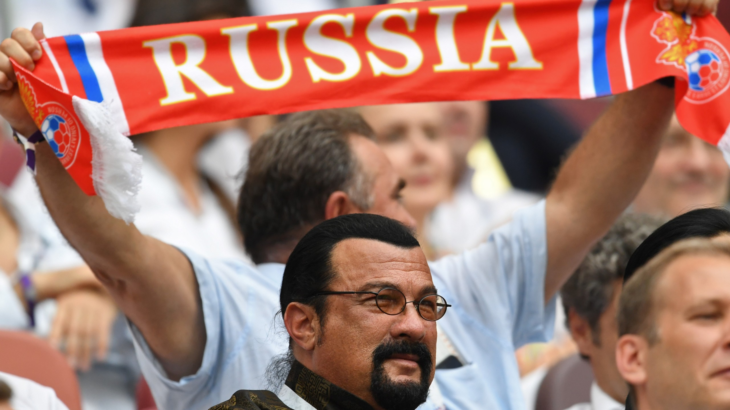 Steven Seagal attends the Russia 2018 World Cup final football match between France and Croatia at the Luzhniki Stadium in Moscow on July 15, 2018. (Credit: KIRILL KUDRYAVTSEV/AFP/Getty Images)