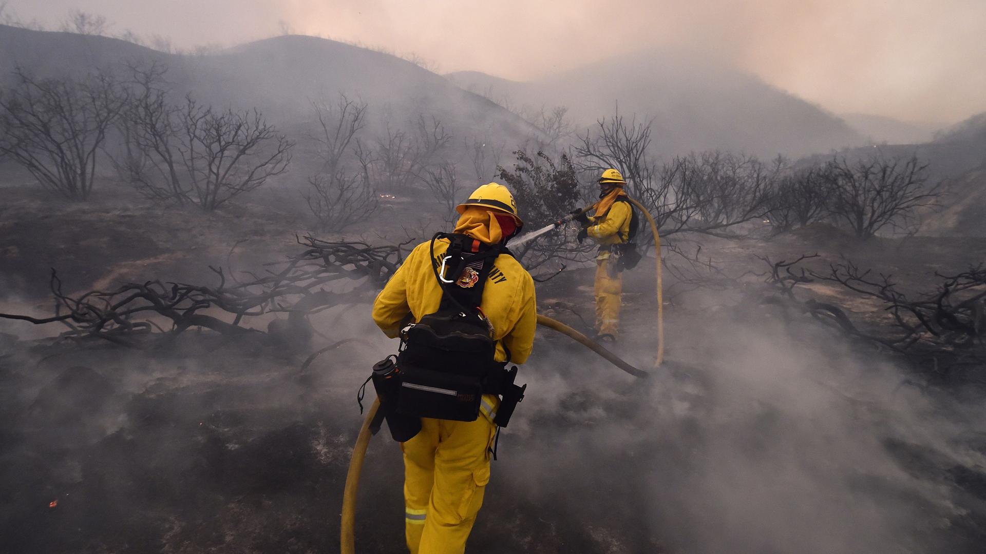 Riverside County firefighters douse embers from the Holy Fire in Lake Elsinore on Aug. 9, 2018. (Credit: ROBYN BECK/AFP/Getty Images)