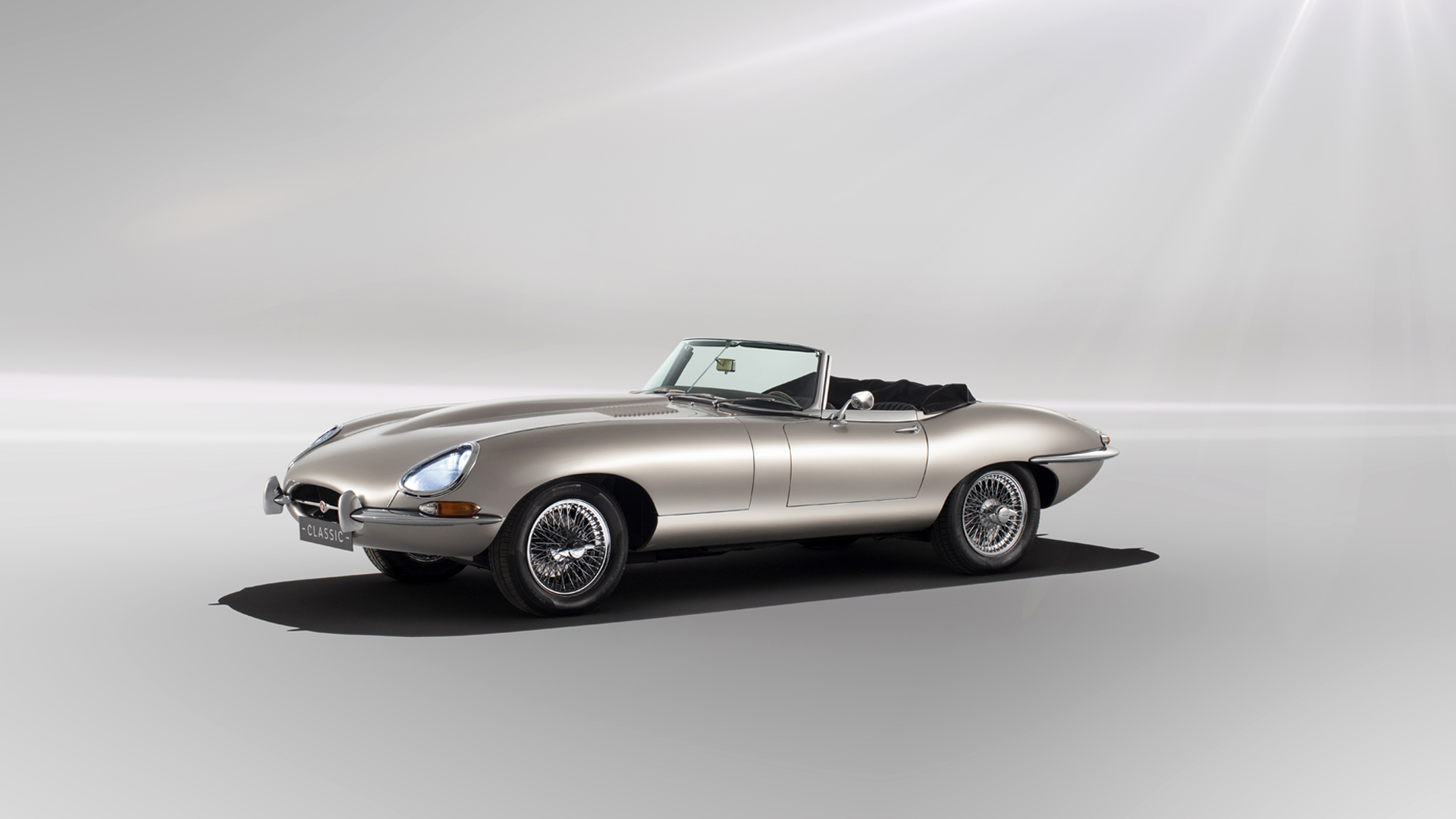 The all-electric Jaguar E-Type, which uses the same body style as the classic 1960s sports car, is seen in a promotion image released by the auto maker on Aug. 23, 2018.