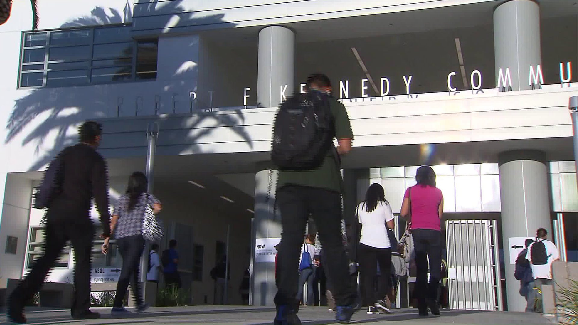 Students head to class at the Robert F. Kennedy Community Schools in Los Angeles' Koreatown in this file photo. (Credit: KTLA)