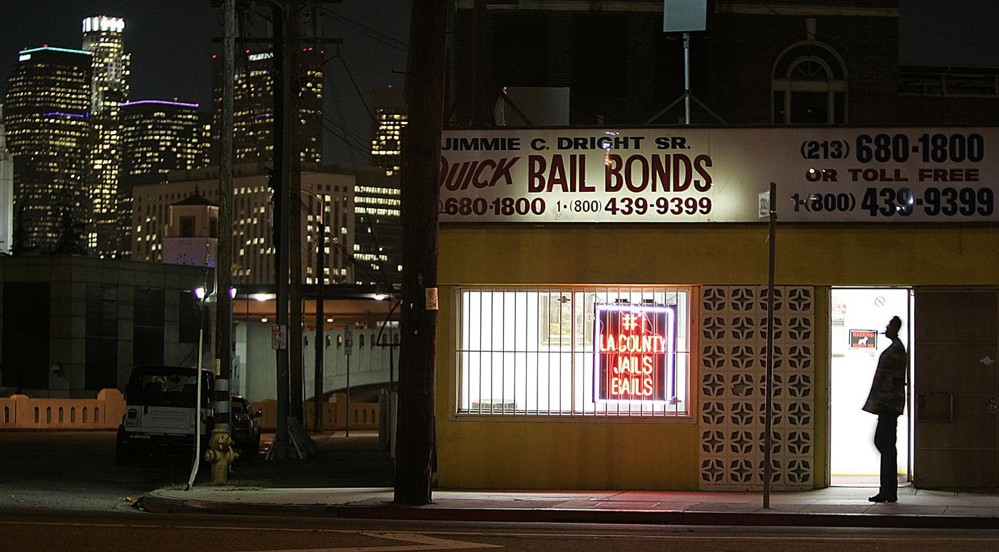 An undated photo shows the downtown Los Angeles skyline from bail bond row on Vignes Street. (Los Angeles Times)