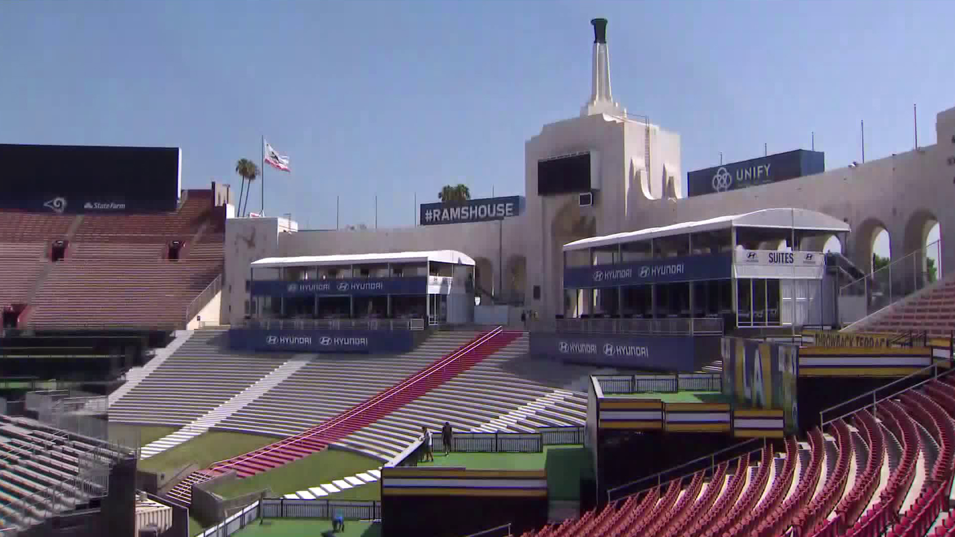 Renovations were under way at the L.A. Memorial Coliseum on Aug. 15, 2018. (Credit: KTLA)