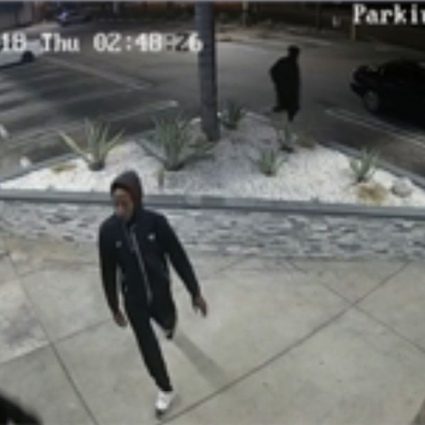 Los Angeles police provided this image showing one of three people they said burglarized a marijuana dispensary in Harbor City on July 5, 2018.