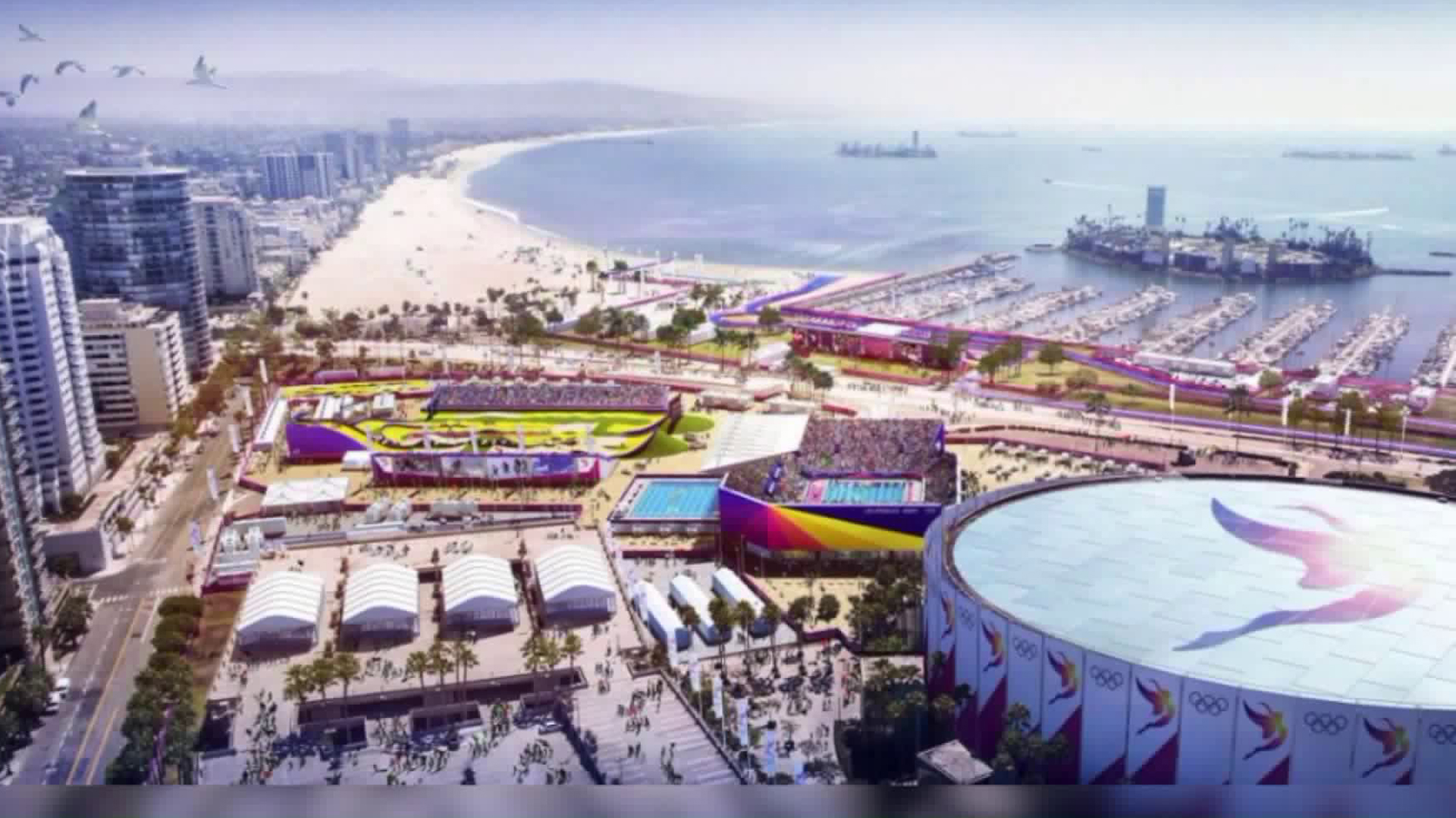 An artist's rendering shows what Long Beach could look like by 2028.