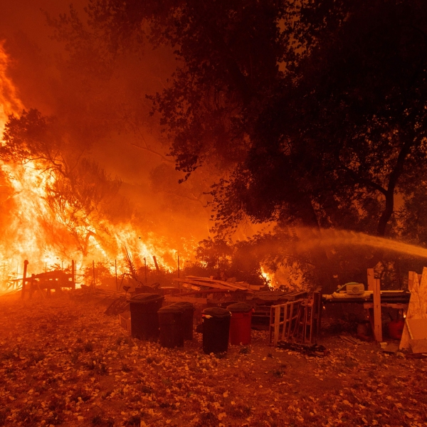 A firefighter douses flames while battling the Ranch Fire tears down New Long Valley Rd near Clearlake Oaks on Saturday, August 4, 2018. (Credit: NOAH BERGER/AFP/Getty Images)