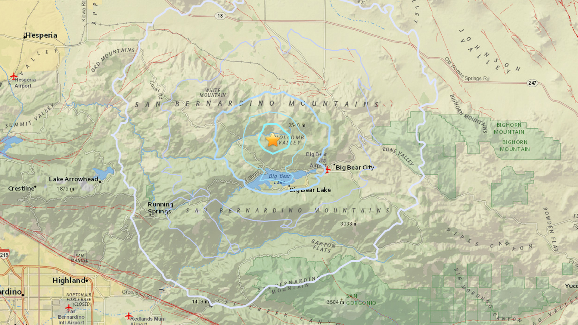 A USGS map shows the location of a magnitude 3.2 earthquake that struck near Big Bear City on Aug. 18, 2018.