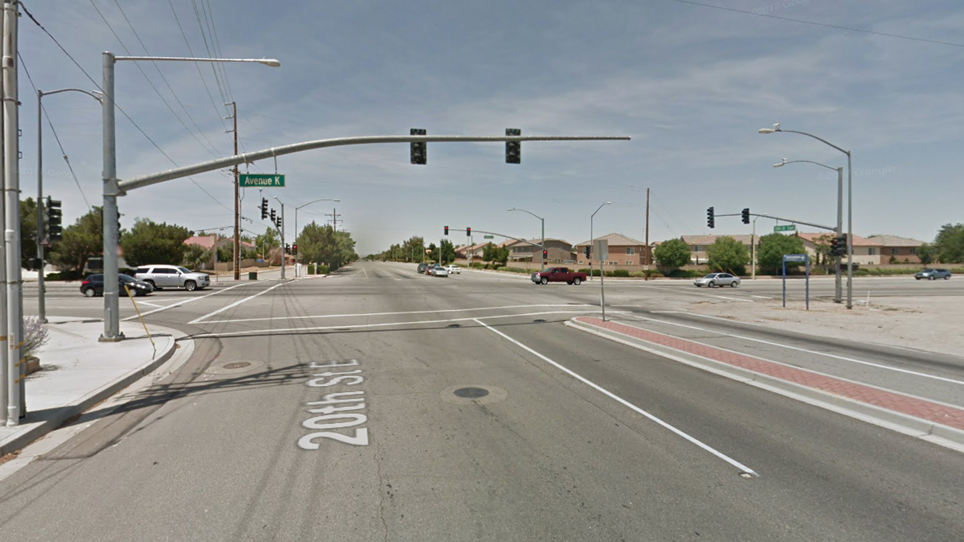 The intersection of Avenue K and 20th Street East in Lancaster is seen in a Google Maps Street View image from June 2016.