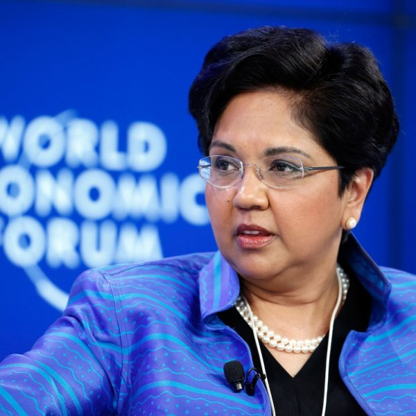 PepsiCo CEO Indra Nooyi, one of the most prominent women to lead a Fortune 500 company, will step down on October 3. Here, she is seen at the World Economic Forum in an undated photo. (Credit: Getty Images via CNN)