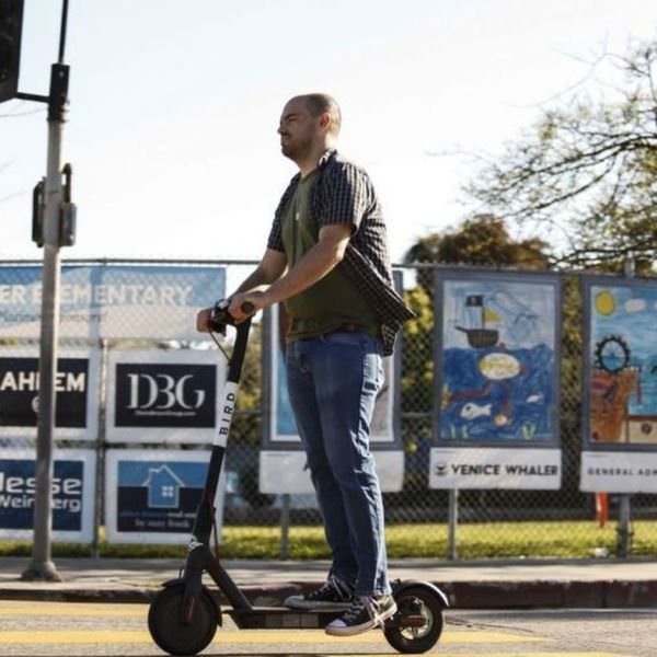 An undated image shows a man using a Bird scooter in Santa Monica. (Credit: Maria Alejandra Cardona / Los Angeles Times)