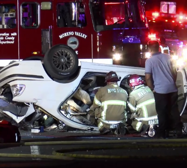 Authorities respond to the scene of a crash that resulted in multiple fatalities in Redlands on Aug. 31, 2018. (Credit: OC Hawk)