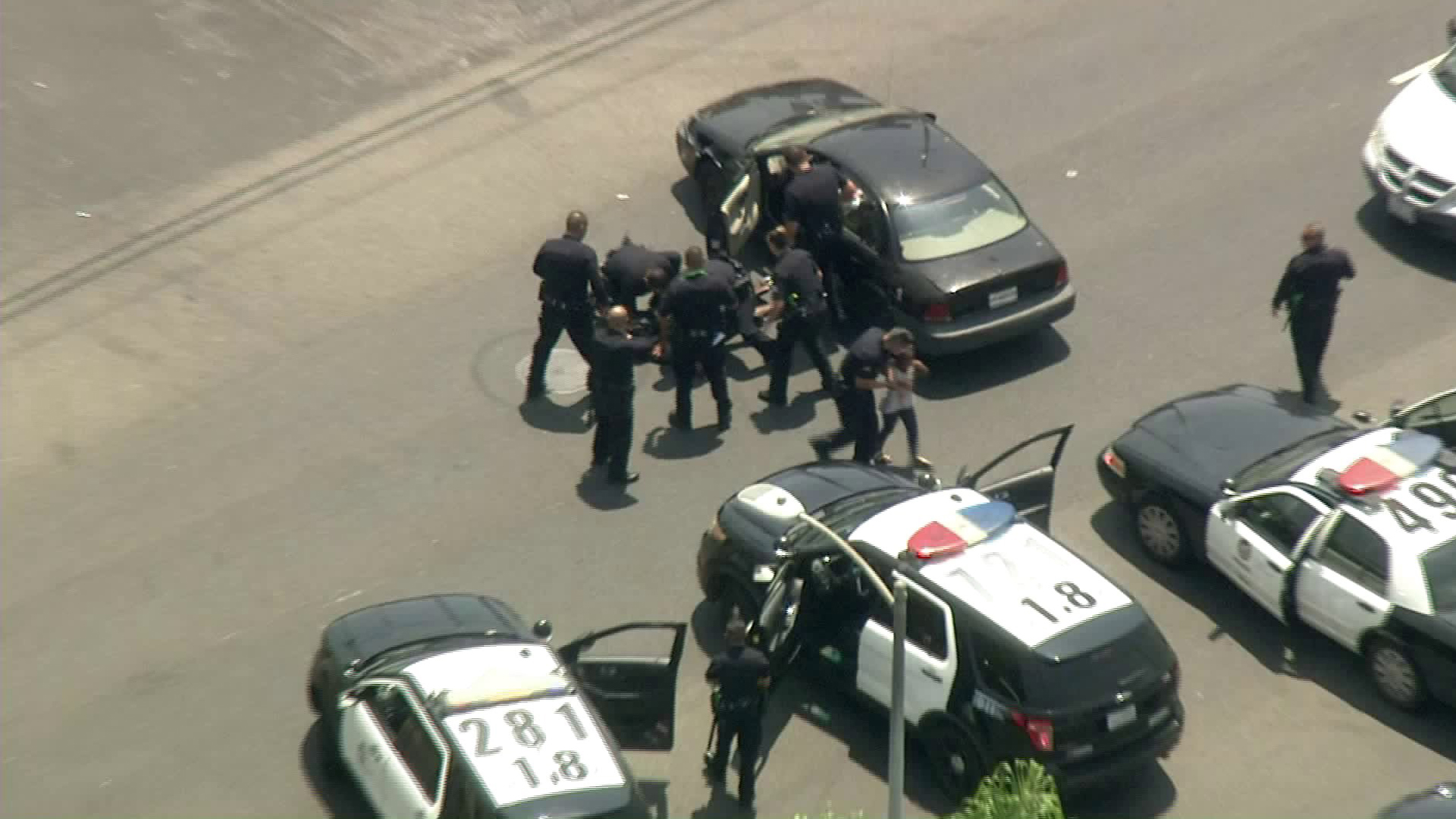 A woman who led LAPD on a pursuit in South L.A. is taken into custody as a girl is being led away by officers on Aug. 2, 2018. (Credit: KTLA)