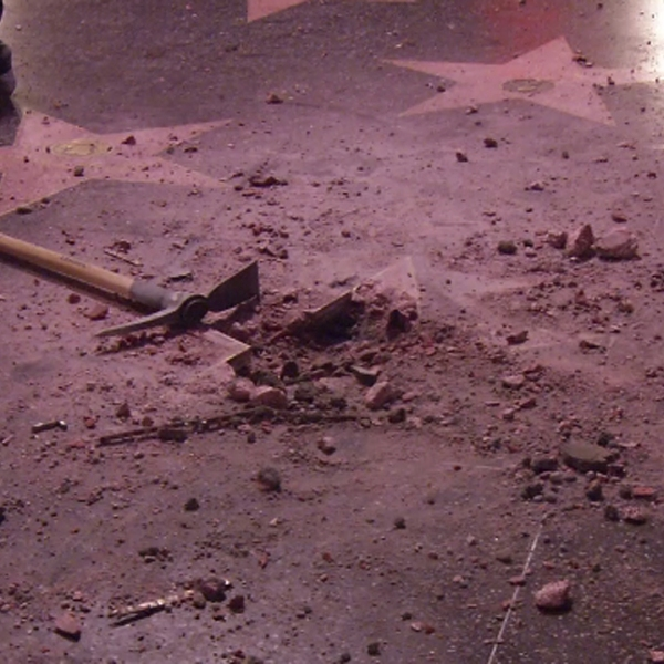 Donald Trump's vandalized star on the Hollywood Walk of Fame in seen on July 25, 2018. (Credit: Loudlabs)