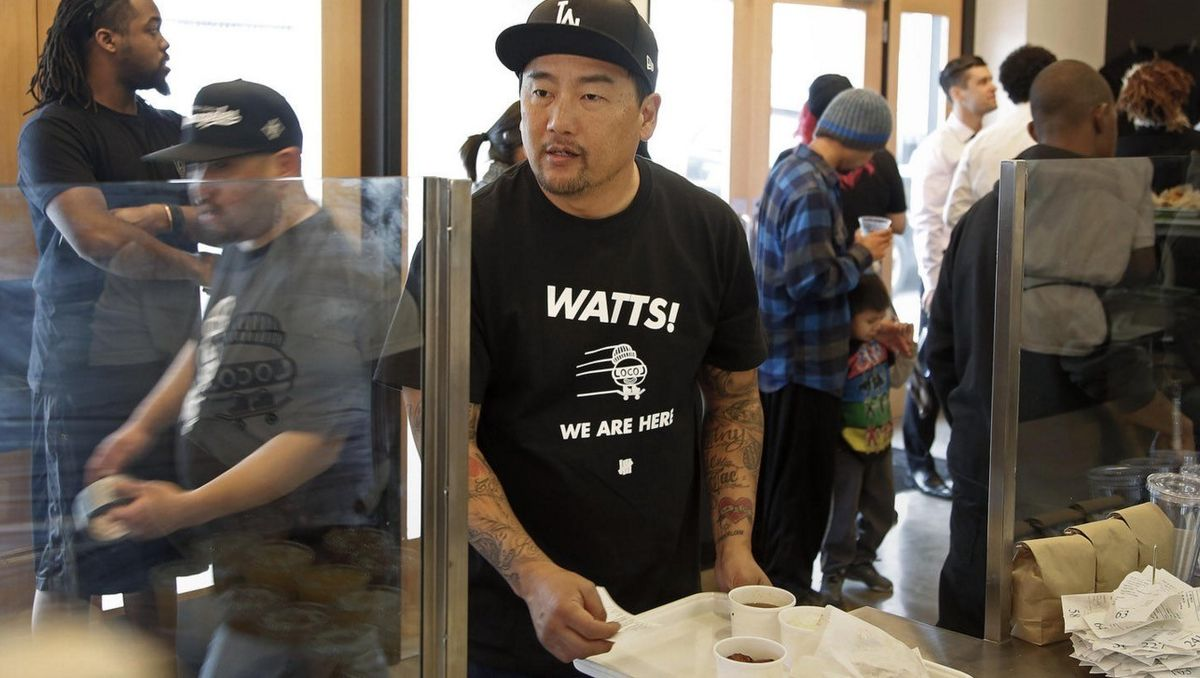 Roy Choi is seen at LocoL in Watts when it opened in 2016. (Credit: Katie Falkenberg / Los Angeles Times)