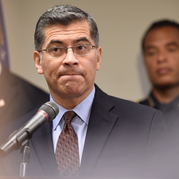 California Attorney General Xavier Becerra speaks to members of the media about the investigation of the shooting death of Stephon Clark in Sacramento on March 27, 2018. (Credit: Josh Edelson / AFP / Getty Images)