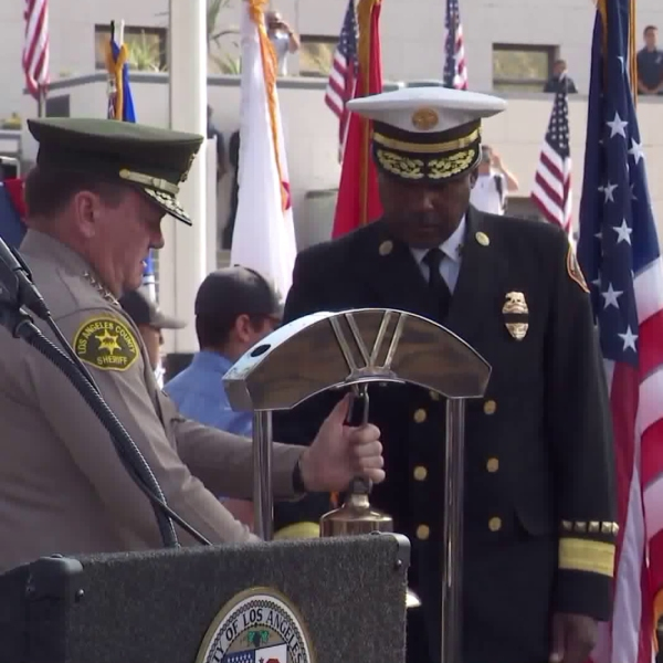 L.A. County Sheriff Jim McDonnell and L.A. Fire Chief Daryl Osby take part in a 9/11 remembrance ceremony at the L.A. Fire Department's Frank Hotchkin Memorial Training Center on Sept. 11, 2018.