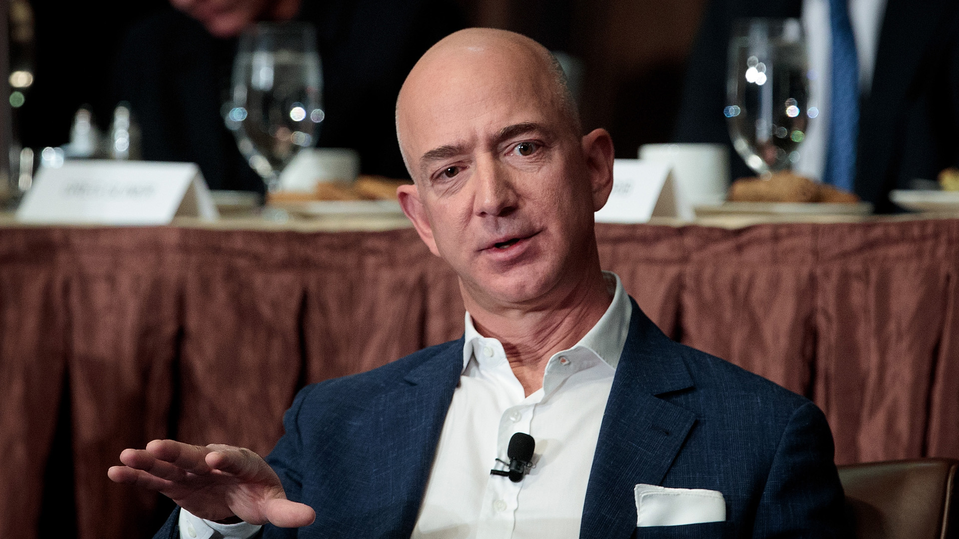 Jeff Bezos, Chairman and founder of Amazon.com and owner of The Washington Post, addresses the Economic Club of New York, at the Sheraton New York Times Square Hotel, October 27, 2016 in New York City. (Credit: Drew Angerer/Getty Images)