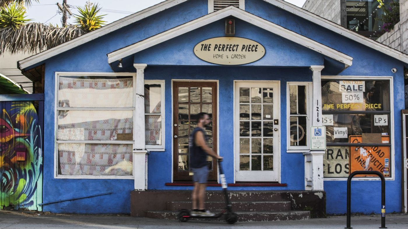 The Perfect Piece, shown in an undated photo, is one of many businesses that have not allowed Bird scooter parking or riding in front of their stores. (Credit: Maria Alejandra Cardona / Los Angeles Times)