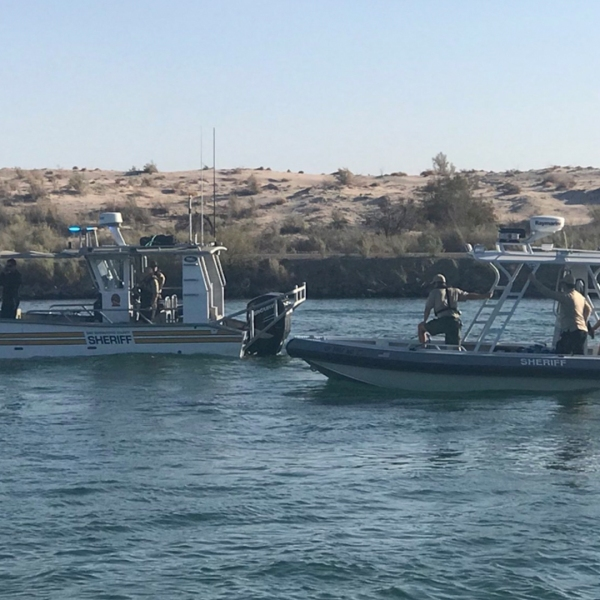 Sheriff's dive teams search for four missing boaters in the Colorado River on Sept. 2, 2018. (Credit: San Bernardino County Sheriff's Office)