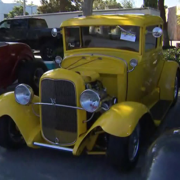 Vehicles are seen at a car show at the Los Angeles Sheriff's Department's Cerritos station on Sept. 15, 2018. (Credit: KTLA)