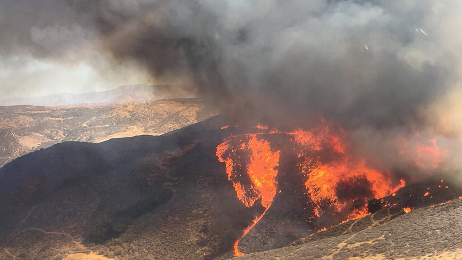 The Charlie Fire ignited near Castaic on Sept. 22, 2018. (Credit: Los Angeles County Fire Department Air Operations)